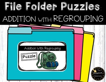 Addition With Regrouping Camping File Folder Puzzles
