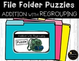 Double Digit Addition With Regrouping Game Camping File Folder Puzzles