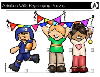 Addition With Regrouping File Folder Puzzles FREEBIE!!! Sports Theme