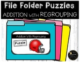 Double Digit Addition With Regrouping Game File Folder Puzzles Sports Theme