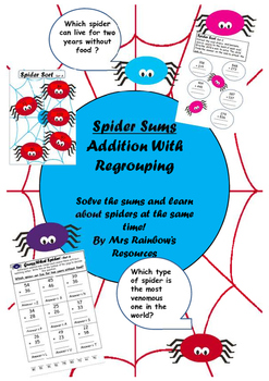 Addition With Regrouping -Spider Theme
