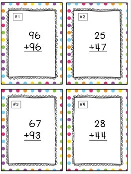 Addition With Regrouping Task Cards & Game