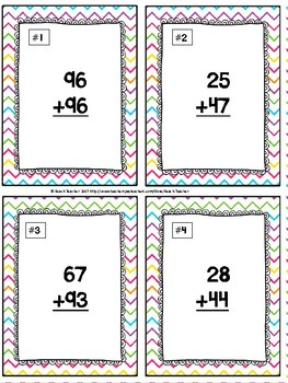 Easter Themed Addition With Regrouping Task Cards & Game 2.NBT.5