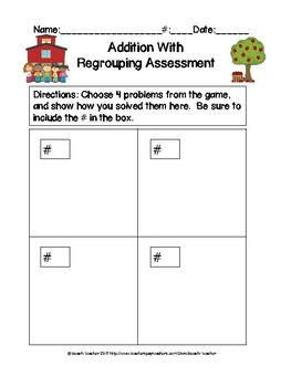 Back to School Themed Addition With Regrouping Task Cards & Game 2.NBT.5
