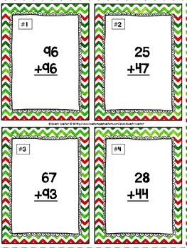 Addition With Regrouping Task Cards & Game (CHRISTMAS)