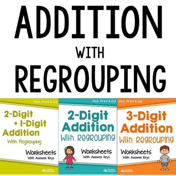 Adding With Regrouping Worksheets, Math Addition With Carrying Practice Sheets