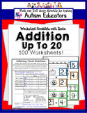 Addition With Sums Up To 20 For Visual Learners of Autism and Special Education