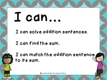 Addition With Sums to 20 Concentration Game Freebie