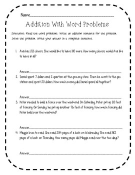Addition With Word Problems