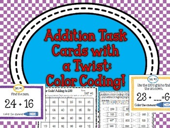 2 and 3 Digit Addition Center Task Cards With a Twist Color Coding