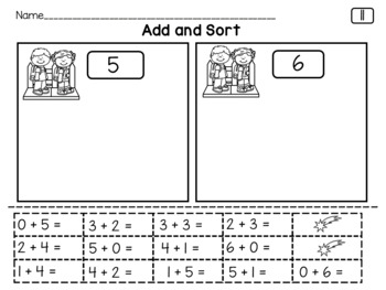 Addition Within 10, Solve, Cut, Sort and Glue Back to School Theme First Grade