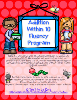 1st Grade Math Facts Addition Within 10 Fluency Program 1.OA.6