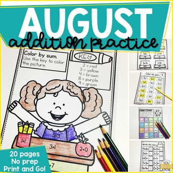 Addition Within 10 Practice Work Pages AUGUST EDITION