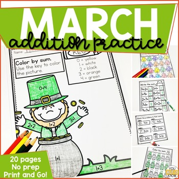 Addition Within 10 Practice Work Pages MARCH EDITION