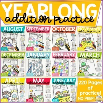 Addition Within 10 Practice Work Pages THE YEARLONG GROWING BUNDLE