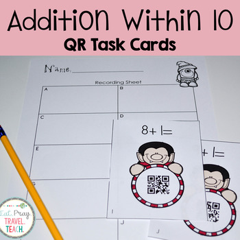 Addition Within 10 QR Task Cards