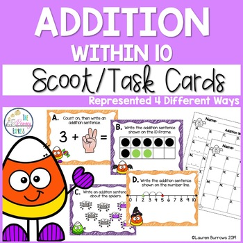 Addition Within 10 Task Cards - Adding Different Ways
