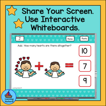 Addition Within 10 With Picture Support Valentine's Day for Google Classroom™