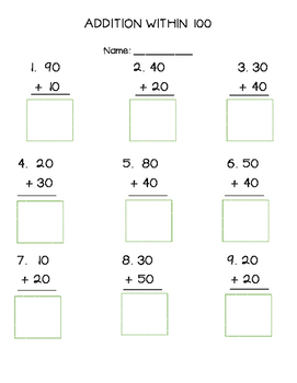 Addition Within 100 Cut and Paste Worksheet