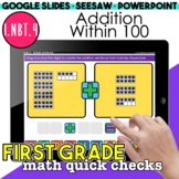 Addition Within 100 Digital Activities | First Grade Math Quick Checks