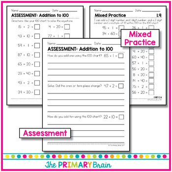 Addition Within 100 Using the 100 Chart Common Core Aligned