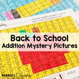 Back to School Addition Fact Fluency Color by Number Mystery Pictures