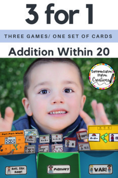 Addition Within 20- Addition Fluency Games (War, Memory, Roll, Say Keep)