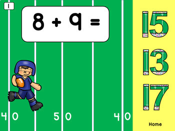 Addition Within 20 Animated Interactive PowerPoint Football Theme