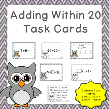 Addition Within 20 Common Core Aligned Task Cards