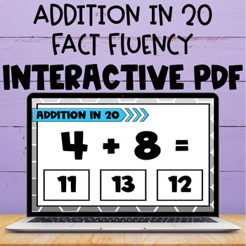 Addition Within 20 Fact Interactive PDF