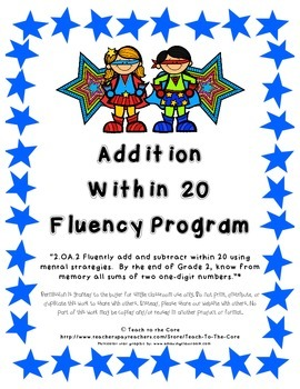 Addition Within 20 Fluency Program 2.OA.2 -Master the Facts-