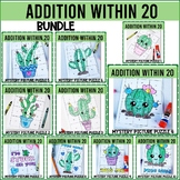 Addition Within 20 Mystery Picture Squares  CACTUS