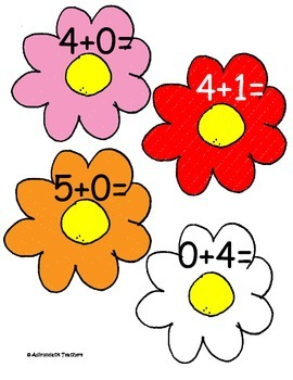 Addition Within 5  Flowers Cake Walk Style Write the Room