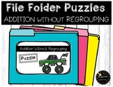 Addition Without Regrouping File Folder Puzzles Monster Truck Theme