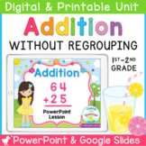Double Digit Addition Without Regrouping Smartboard and Po