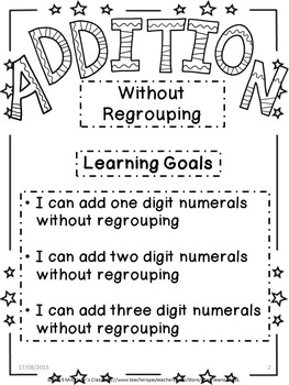 Addition Without Regrouping - Student Practice Book