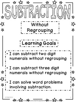 Subtraction Without Regrouping - Student Workbook