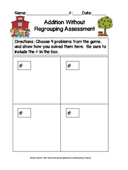 Back to School Themed Addition Without Regrouping Task Cards & Game 2.NBT.5