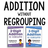 Adding Without Regrouping Worksheets Bundle, Addition Pretest Practice Sheets