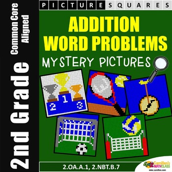 Addition Mystery Pictures (One Step Word Problems) 2nd Grade Word Problems