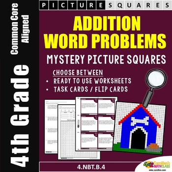 Addition Word Problems, 4th Grade Mystery Picture Coloring Pages