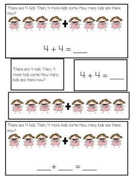 Addition Word Problem Activity Differentiated