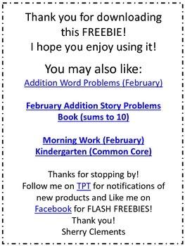 Addition Word Problem FREEBIE