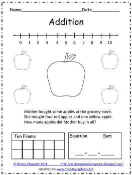 FREE DOWNLOAD : Addition Word Problem FREEBIE