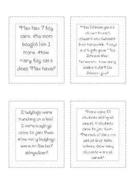 Addition Word Problem Flash Cards Sums through 10