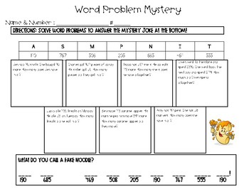 Addition Word Problem Mystery Handout