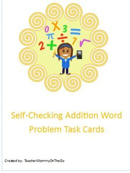 Addition Word Problem Self Check Cards