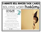 Addition Word Problem Task Cards-OCTOBER