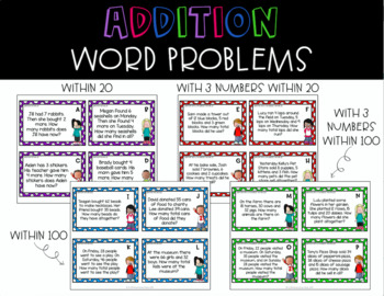 Addition Word Problem Task Cards {One-Digit and Two-Digit Addition}