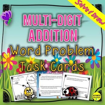 Addition Multi-Digit Word Problem Task Cards